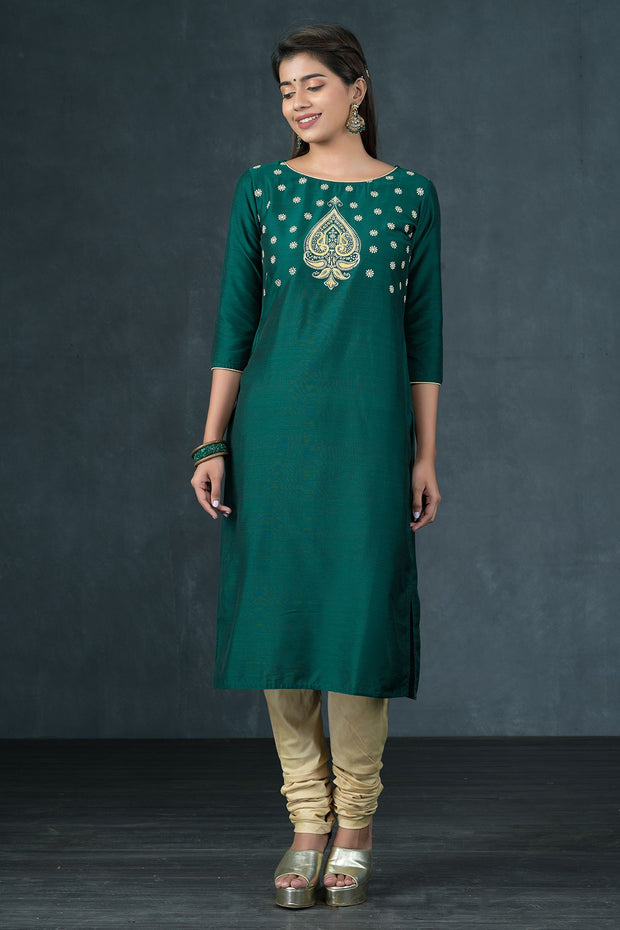 Paisley & Floral Printed Kurta & Dupatta Set - Emerald Green & Off White