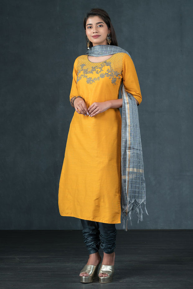 Floral Lace Pattern Embroidered Kurta, Bottom & Checked Dupatta Set - Mustard & Grey