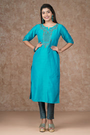 Ditsy Floral Embroidered Kurta, Bottom & Dupatta Set - Turquoise & Grey