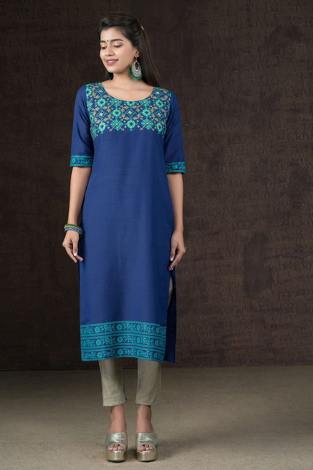 Abstract Mosaic Pattern Printed Kurta & Dupatta Set - Blue & Grey
