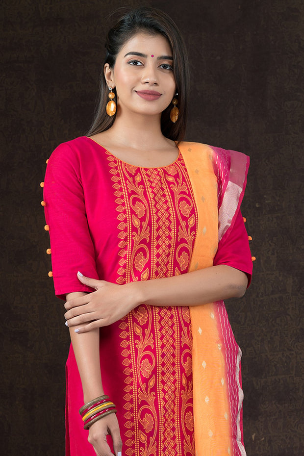 Brocade Placement Printed Kurta & Dual Tone Dupatta Set - Pink & Mustard