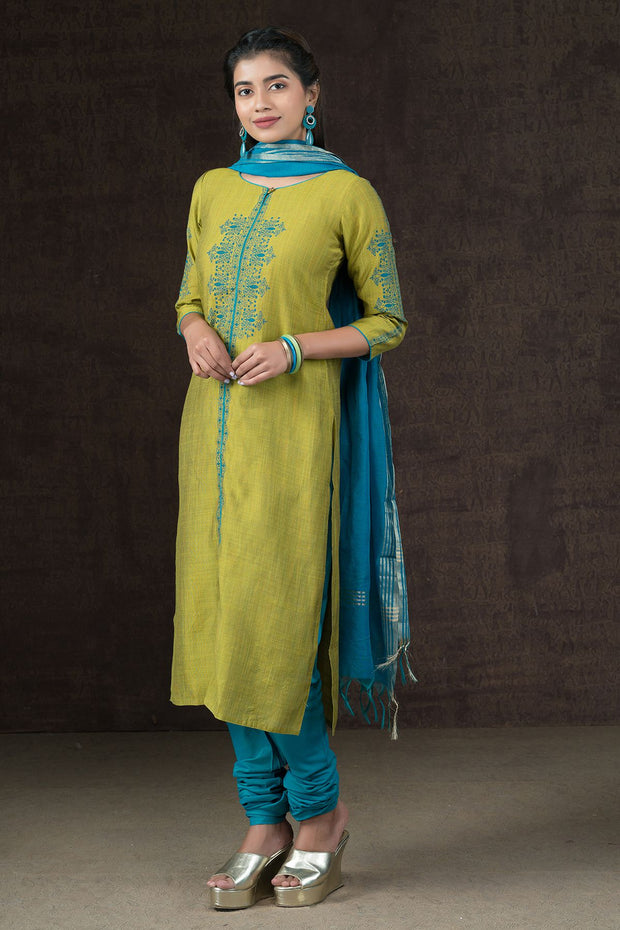 Monochrome Floral Printed Kurta & Dupatta Set - Green & Blue