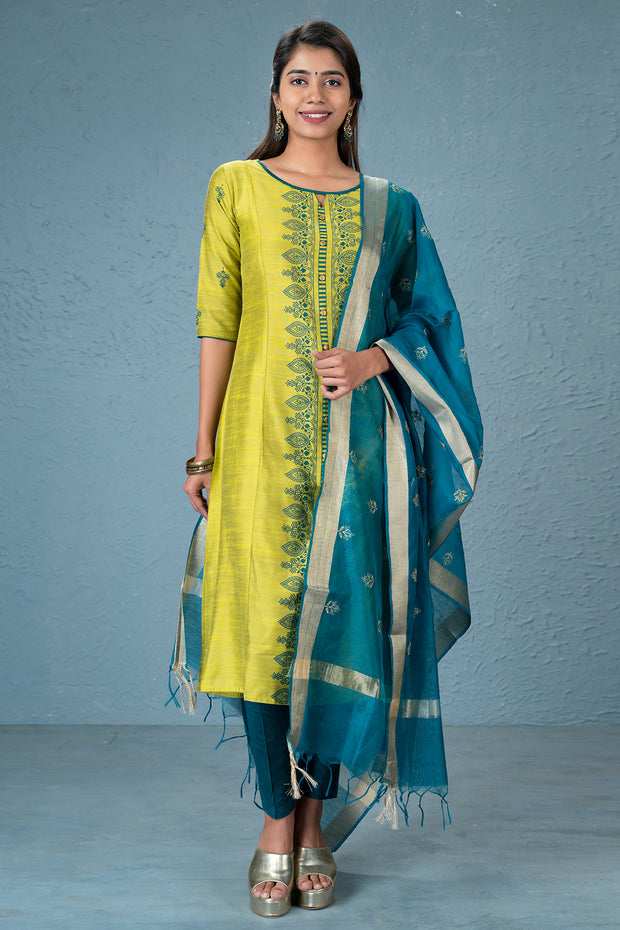 Acanthus floral printed kurta and dupatta set - Lime green and Dark green