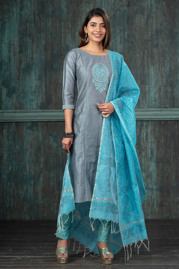Festive Floral Embroidered Kurta Set - Grey & Blue