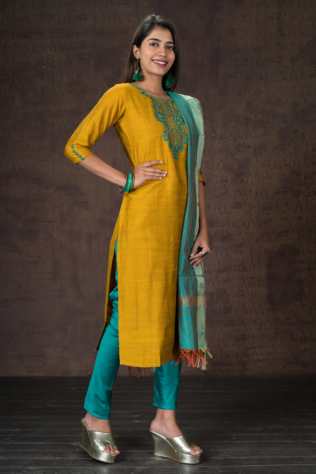 Double coloured beautiful floral embroidered kurtha and dupatta set - Mustard and Green.