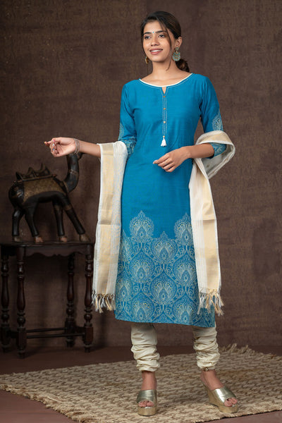 Damask Floral Placement Printed Kurta Set - Blue & Off White
