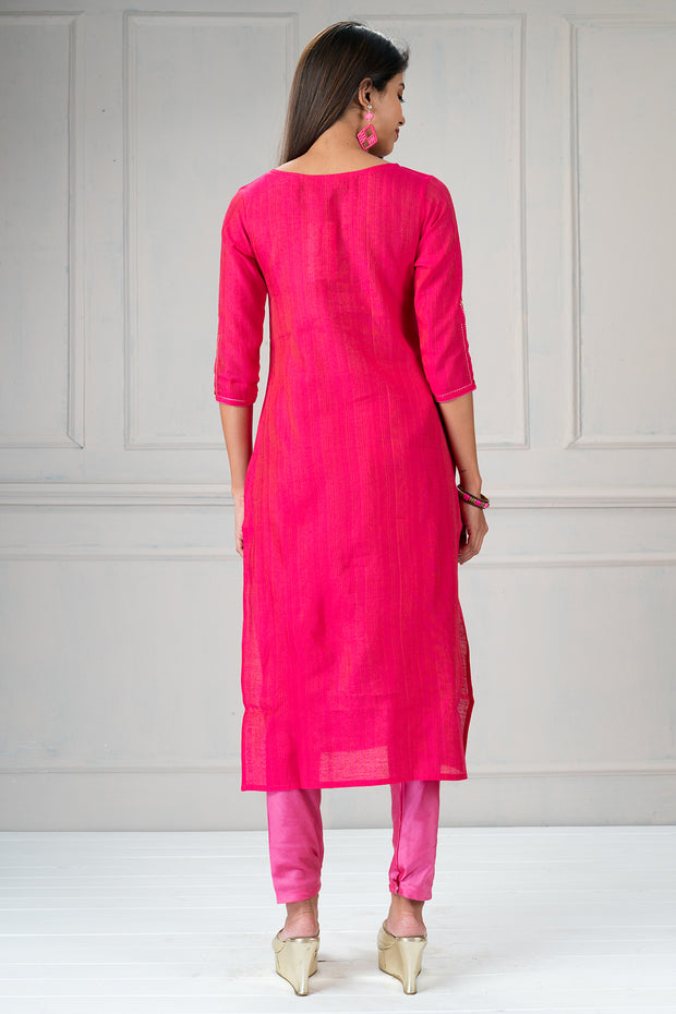 Beautiful delicate floral embroidered kurtha and dupatta set - pink