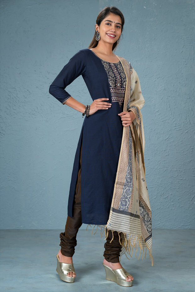 Floral printed kurtha and dupatta set - Navy blue and brown
