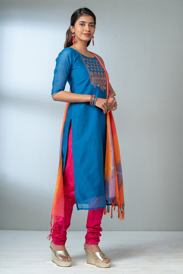 Garden Floral Embroidered Kurta Set - Blue & Multicolour