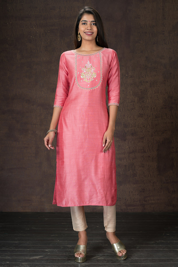 Beautiful acanthus floral embroidered kurtha and dupatta set - Pink and Cream