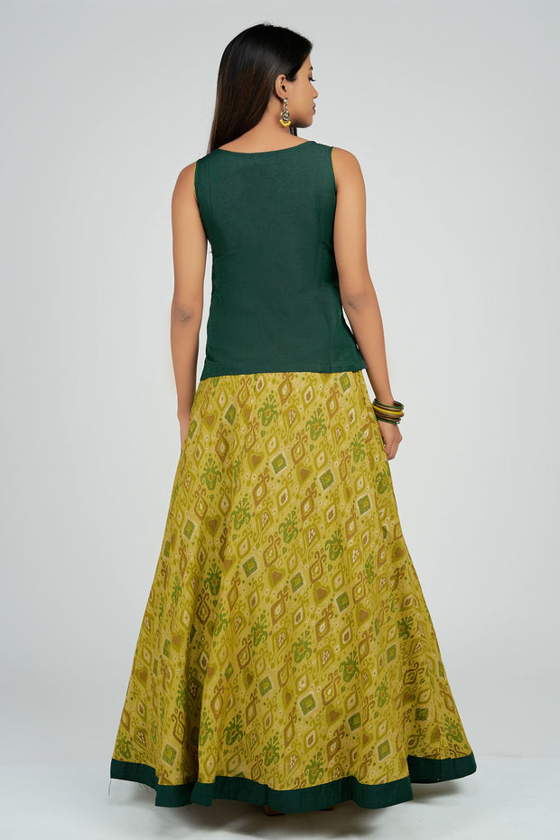 Maybell-Ikat printed skirt set - Green6