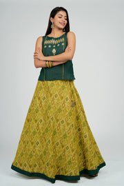 Maybell-Ikat printed skirt set - Green2