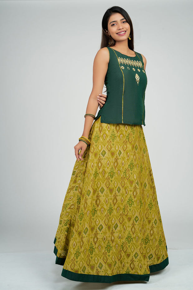 Maybell-Ikat printed skirt set - Green3