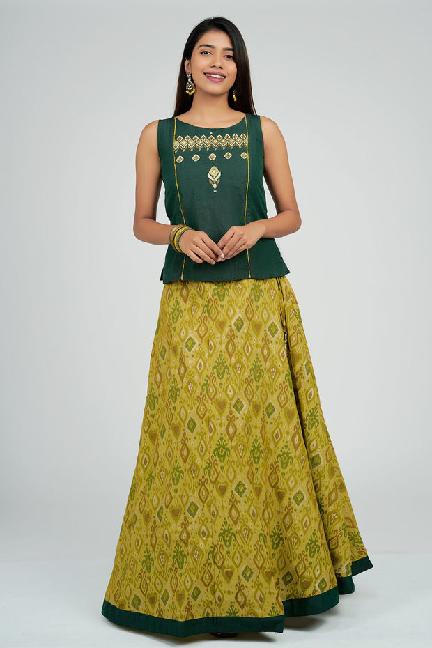 Maybell-Ikat printed skirt set - Green4