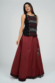 Maybell-Plain skirt with ikat top - Black & Maroon2