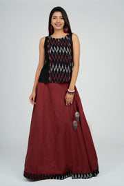 Maybell-Plain skirt with ikat top - Black & Maroon