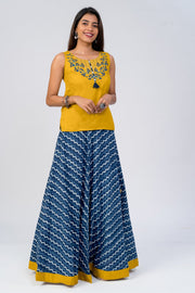 Maybell-Floral embroidered indigo skirt set - Mustard & Indigo