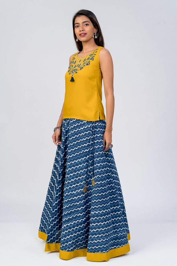Maybell-Floral embroidered indigo skirt set - Mustard & Indigo2