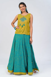 Maybell-Bandhni printed skirt set - Green1