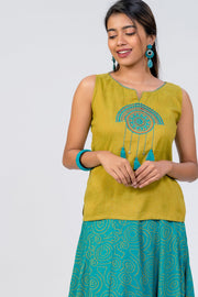 Maybell-Bandhni printed skirt set - Green2