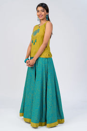 Maybell-Bandhni printed skirt set - Green3