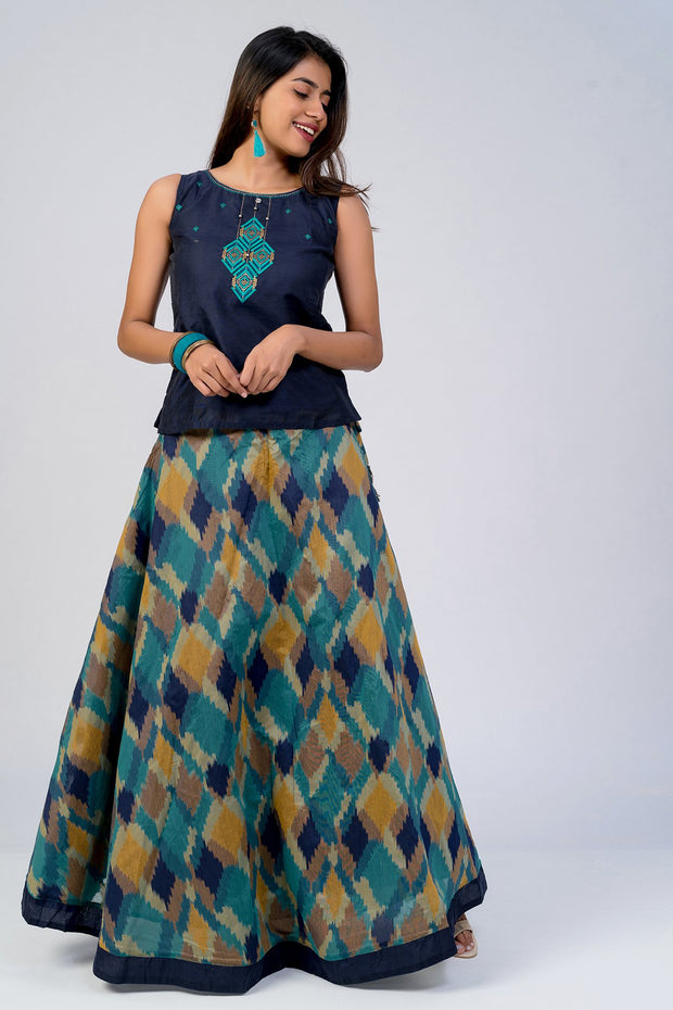 Maybell-Geometric printed skirt set - Navy Blue1