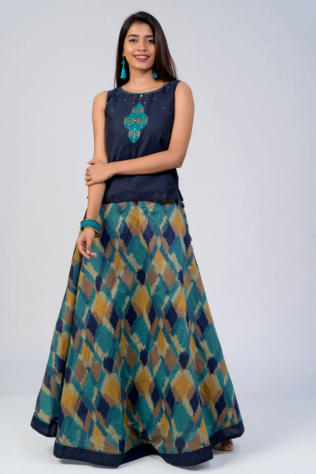 Maybell-Geometric printed skirt set - Navy Blue3