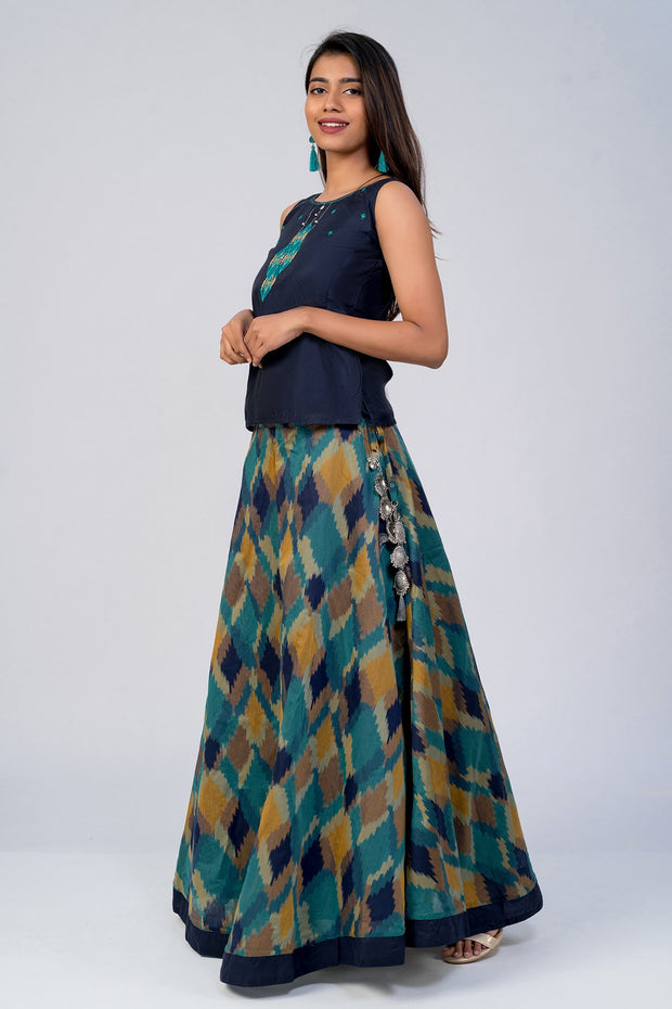 Maybell-Geometric printed skirt set - Navy Blue2