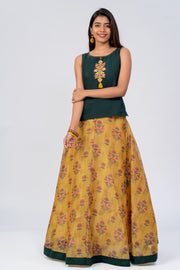 Maybell-Floral printed skirt set - Green & Mustard1