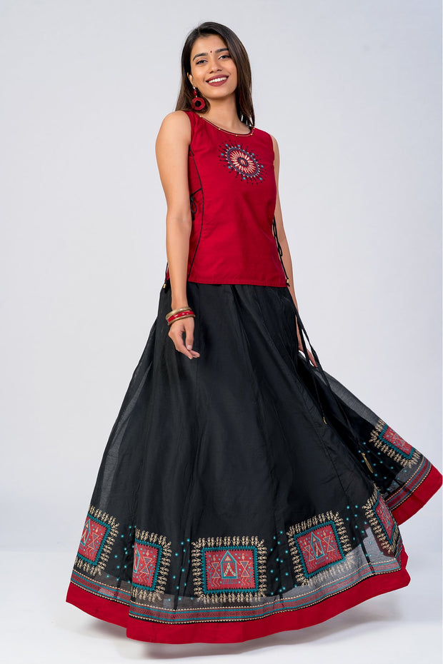 Tribal printed skirt set - Red & Black