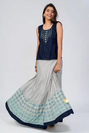 Geometric floral printed skirt - Navy Blue & Grey