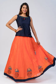 Maybell-Kalasam printed skirt set - Navy Blue & Orange