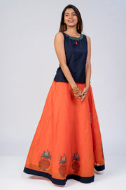 Maybell-Kalasam printed skirt set - Navy Blue & Orange1
