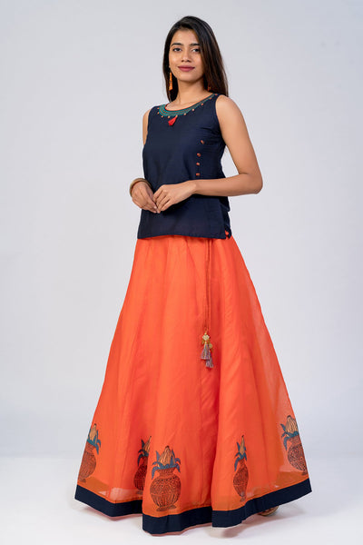 Maybell-Kalasam printed skirt set - Navy Blue & Orange2