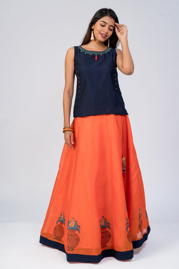 Maybell-Kalasam printed skirt set - Navy Blue & Orange3