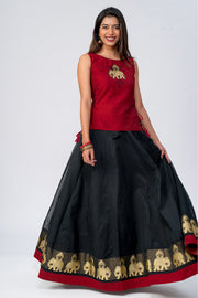 Maybell-Elephant embroidered skirt set- Red & Black1