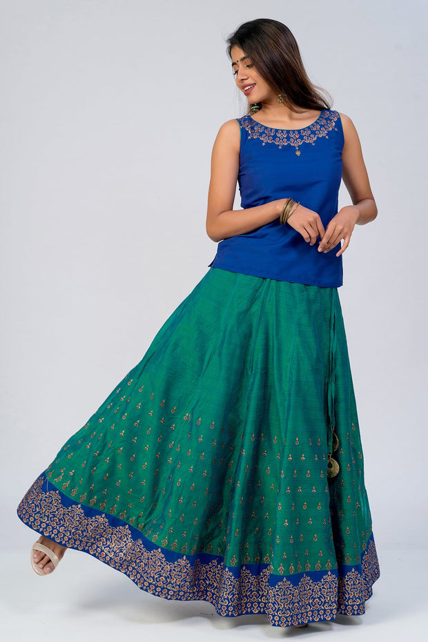 Maybell-Floral printed skirt set - Navy Blue & Green2
