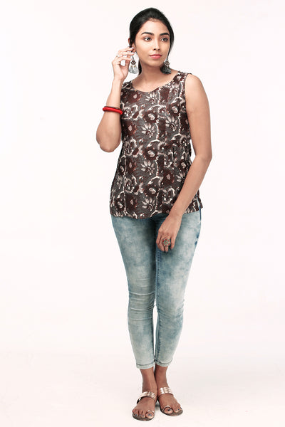 Minimal Printed Top - Brown (Floral) - Maybell Womens Fashion
