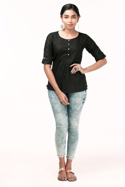 Comfy Solid Top - Black - Maybell Womens Fashion