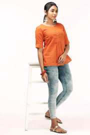 Comfy Solid Top - Rust - Maybell Womens Fashion