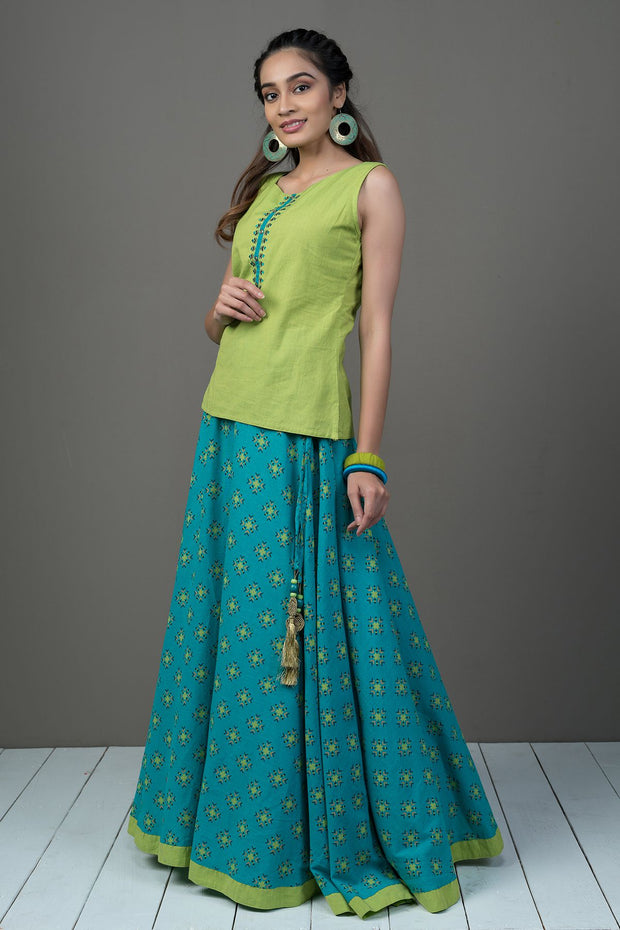Embroidered Placket Top & All Over Geometric Printed Skirt Set - Blue & Green