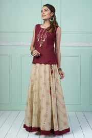 Cross Stitch Embroidered Top & Printed Skirt Set - Maroon & Creme