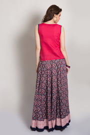 Pink & Printed Rayon Skirt Set - Maybell Womens Fashion