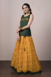 Kasuti Printed Skirt & Top Set - Green & Mustard