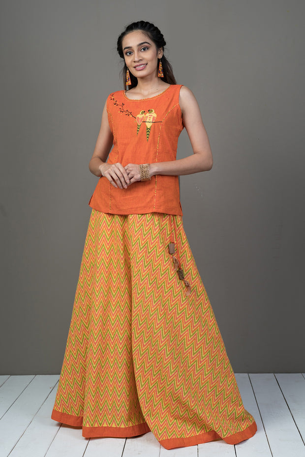Bird Embroidered Top & Zigzag Printed Skirt Set - Orange