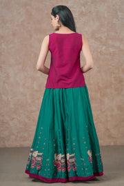 Embroidered Neckline Top & Elephant Placement Printed skirt set - Magenta & Sea Green
