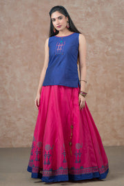 Warli Embroidered Top & Placement Printed Skirt Set - Navy & Magenta