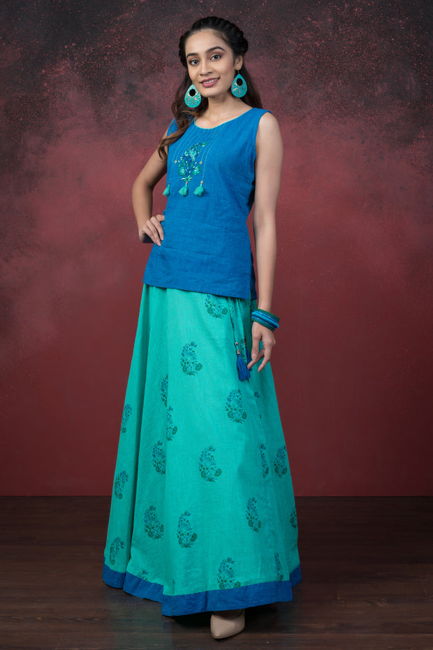 Embroidered Top & Paisley Motif Printed Skirt Set - Blue