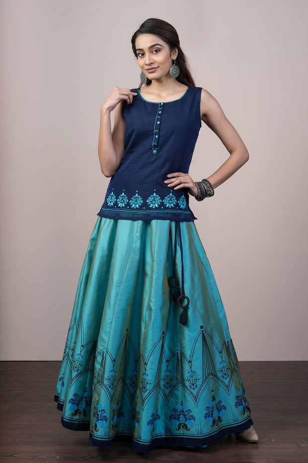 Gleaming Abstract Printed Skirt & Embroidered Top Set - Blue
