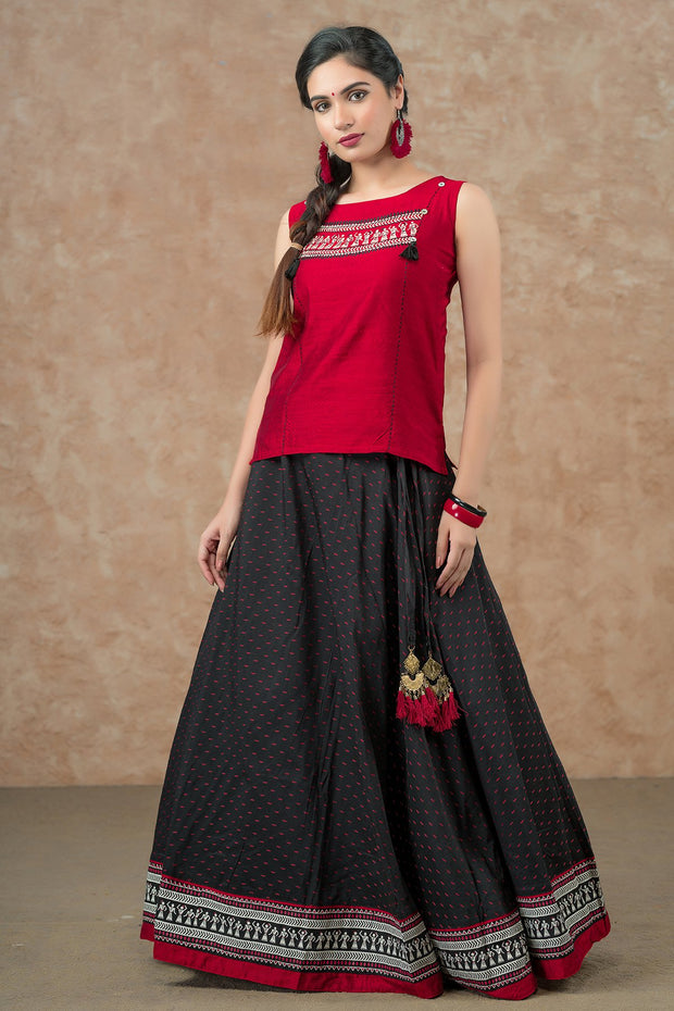 Warli Pattern Top & Dobby Skirt Set - Black & Red